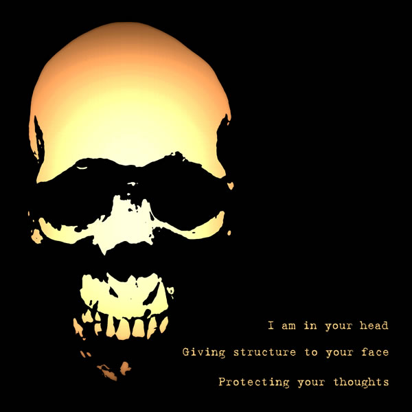 I am in your head, giving structure to your face, protecting your thoughts.